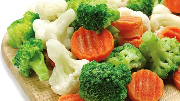 Много замороженных овощей