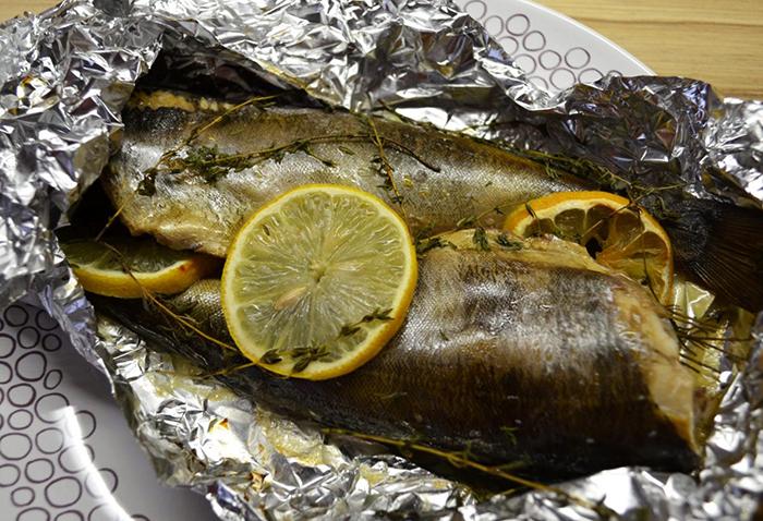 Приготовленная рыба терпуг