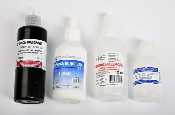 Флаконы с перекисью водорода