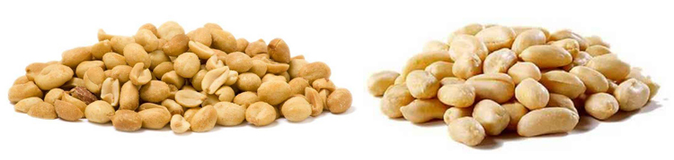Жареный и сырой арахис