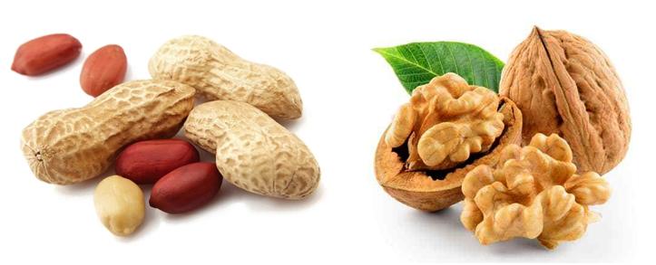 Арахис и грецкий орех
