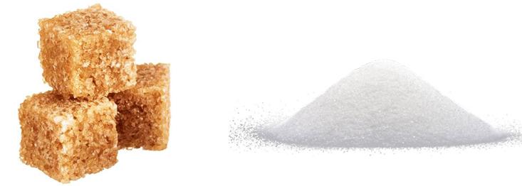 Тростниковый и белый сахар
