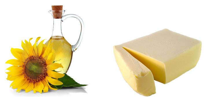 Подсолнечное и сливочное масла