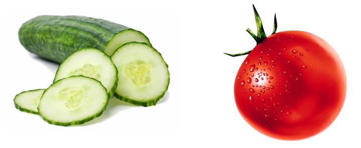 Огурец и помидор
