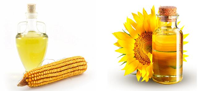Кукурузное и подсолнечное масло