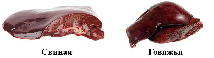 Свиная и говяжья печень