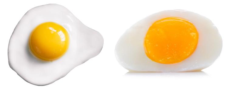 Яичница и варенное яйцо