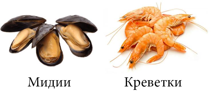 Мидии и креветки